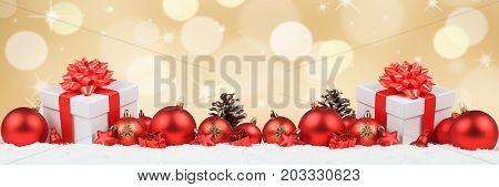 Christmas Gifts Presents Balls Banner Decoration Golden Background Copyspace