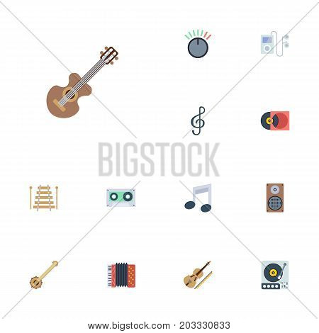 Flat Icons Banjo, Tape, Tone Symbol And Other Vector Elements
