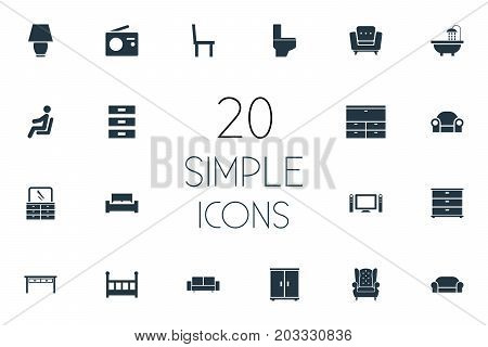 Elements Closet, Chest Drawers, Lounge And Other Synonyms Commodes, Lounge And Water.  Vector Illustration Set Of Simple Furnishings Icons.