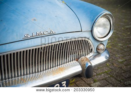 THORN NETHERLANDS - NOVEMBER 6 2016: Front view of a rare Simca Aronde Etoile from 1961. It is a model produced by the French car manufacturer Simca between 1951 and 1964