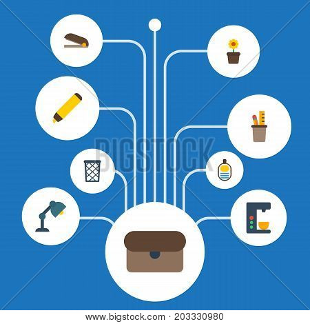 Flat Icons Trash Basket, Espresso Machine, Identification And Other Vector Elements