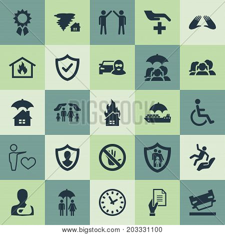 Elements Agreement, Medical Attendance, Care And Other Synonyms Fuse, Award And Medical.  Vector Illustration Set Of Simple Safeguard Icons.