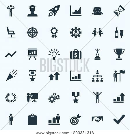 Elements Development, Correct Sign, Worker And Other Synonyms Armchair, Hero And Hierarchy.  Vector Illustration Set Of Simple Success Icons.