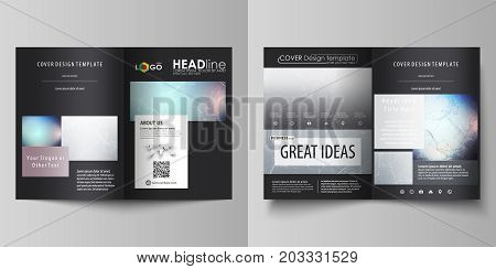 Business templates for bi fold brochure, flyer. Cover design template, vector layout in A4 size. Compounds lines and dots. Big data visualization in minimal style. Graphic communication background
