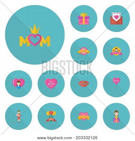 Happy Mother's Day Flat Icon Layout Design With Mam, Kiss And Present Symbols