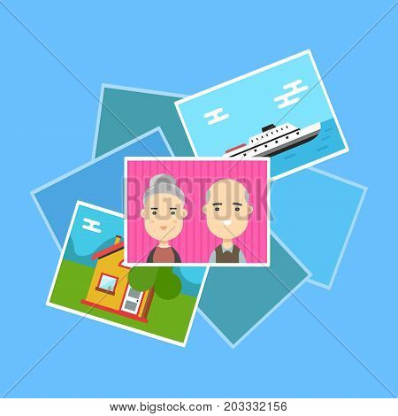 Pile of photos. Photo of family and traveling. Vector cartoon modern trendy stylish flat character illustration icon design. Isolated on blue background. Photo archive concept