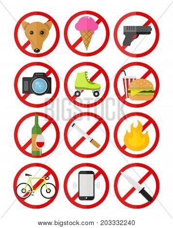 Vector prohibitory signs icons set no smoking dogs fire cameras ice cream cell phones bicycles guns alcohol food rollers knife. Vector flat style cartoon ilustration icon. Isolated on white background