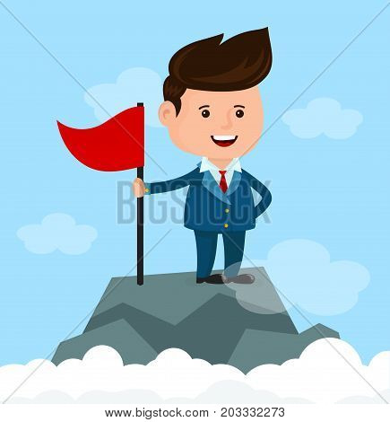 Happy smiling businessman with flag on mountain top. Success and achievement concept. Vector modern flat style cartoon character illustration. Isolated on white background.
