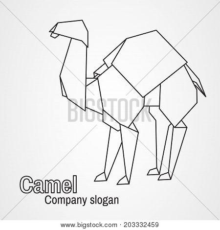 Origami logo contour camel on a white background. Vector illustration