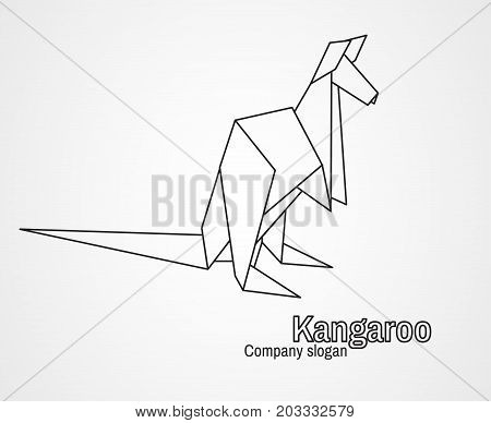 Origami logo contour kangaroo on a white background. Vector illustration