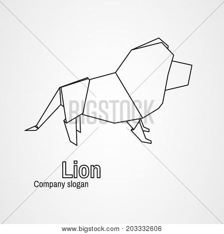 Origami logo contour lion on a white background. Vector illustration