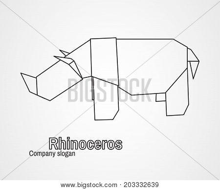 Origami logo contour rhinoceros on a white background. Vector illustration