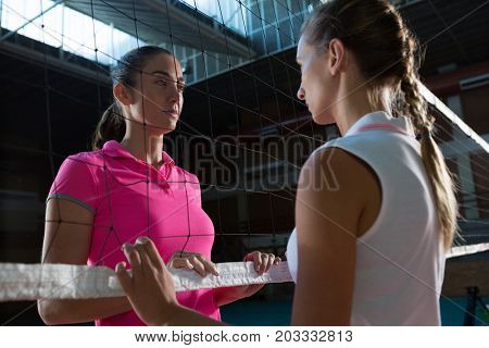 Female volleyball players looking each other through net at court