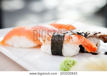 Sushi set with shrimp, tuna, trout, eel and smoked salmon