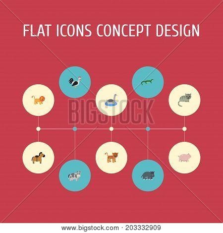 Flat Icons Swine, Hippopotamus, Kine And Other Vector Elements