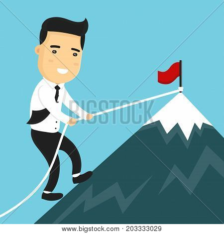 Businessman climbing mountain peak. Vector modern style cartoon character illustration icon design. Business success concept. Red flag on mountain peak