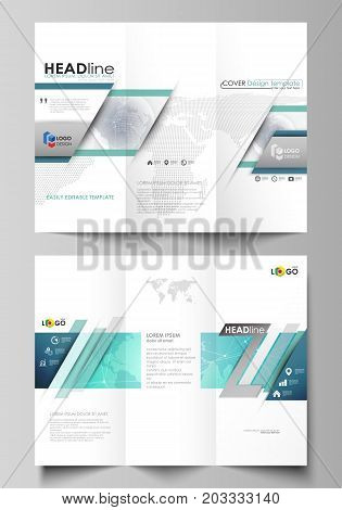 The minimalistic abstract vector illustration of editable layout of two creative tri-fold brochure covers design business templates. Chemistry pattern. Molecule structure. Medical, science background
