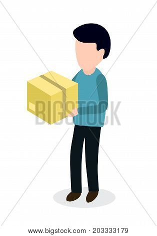Person with box sending parcel. Delivery man in isometry concept. Vector modern flat style cartoon character illustration icon design.Isolated on white background.
