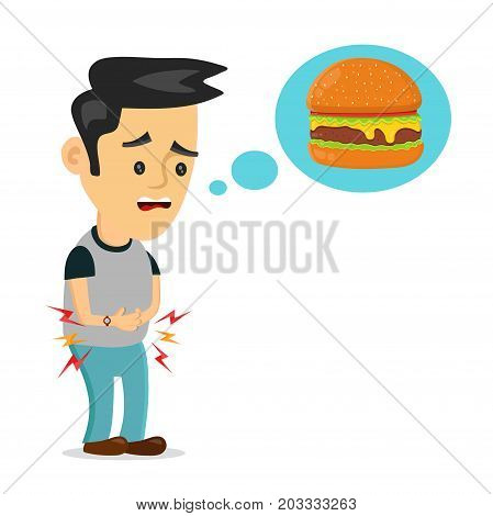 Young suffering sad man is hungry. thinks about food, fast food, burger. Vector flat cartoon illustration icon design. Isolated on white backgound. Hungry concept
