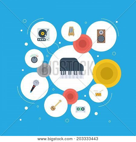 Flat Icons Karaoke, Octave Keyboard, Knob And Other Vector Elements