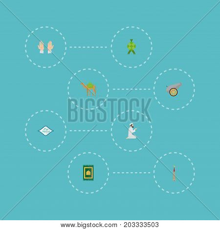 Flat Icons Artillery, Malay, Palm And Other Vector Elements