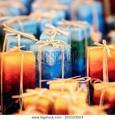 Handmade Candles On The Market, Handicraft For Sale, Decoration