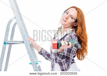 Housewife During Repairs, Portrait On A Ladder With Tools Isolated