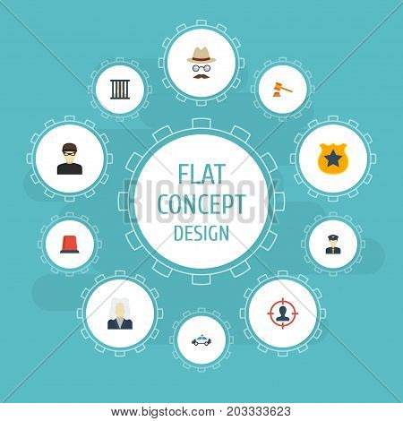 Flat Icons Suspicious, Policeman, Thief And Other Vector Elements