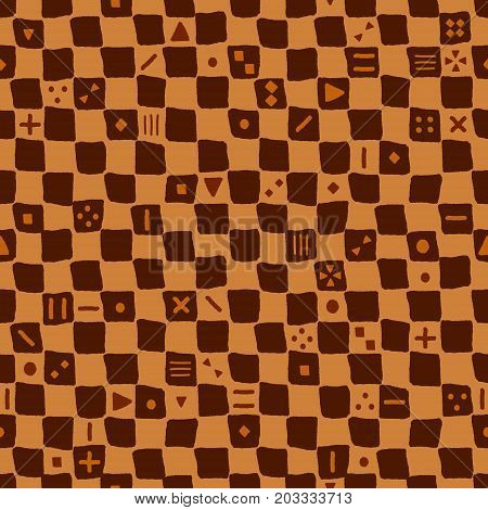 Brown ethnic mudcloth rough checkered seamless pattern, vector background