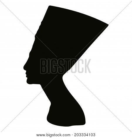 Vector portrait of Queen Nefertiti. Black silhouette isolated on white background.
