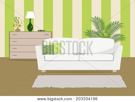 Green living room with a white sofa. There is also a curbstone with flowers and lamp in the picture. Behind the sofa there is a large room flower. Vector flat illustration.