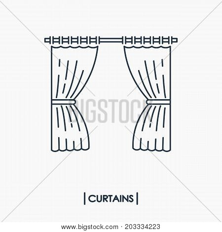 Curtains outline icon isolated. Vector illustration .
