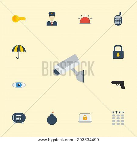 Flat Icons Walkie-Talkie, Parasol, Explosive And Other Vector Elements