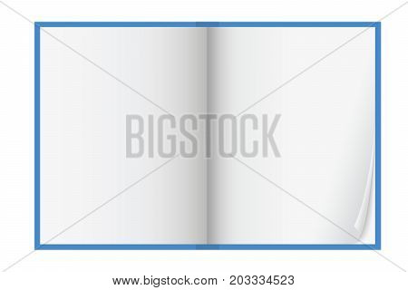 Vector illustration of a blue workbook with leaves with curved corner and shadows