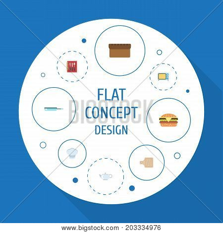 Flat Icons Cooking Notebook, Breadboard, Teapot And Other Vector Elements