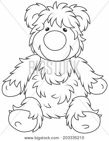 Vector illustration of a funny toy bear cub friendly smiling