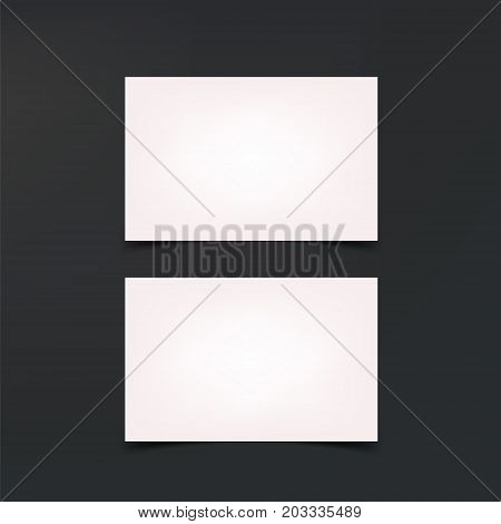 Mockup business cards. White business cards, blank template. Cards on black background