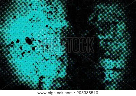 Turquoise background halftone. Abstract grunge texture. Vintage turquoise style. Texture for print and design of dots and spots