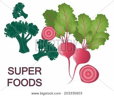 an illustration of super foods brocoli and beetroot on a white background
