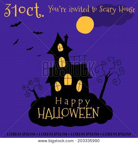 Happy Halloween invitation card design. Vector illustration. Scary House and trees on the deep purple background.