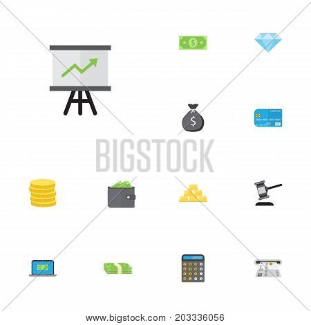 Flat Icons Finance Sack, Accounting, Computer And Other Vector Elements