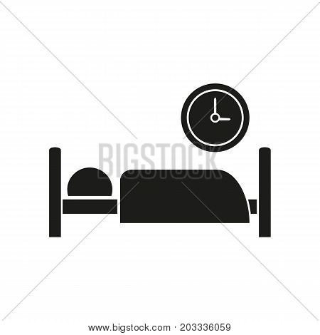 Icon of day patient department. Watch, bed, sleeping. Hospital wayfinding concept. Can be used for topics like hospital, rest, night
