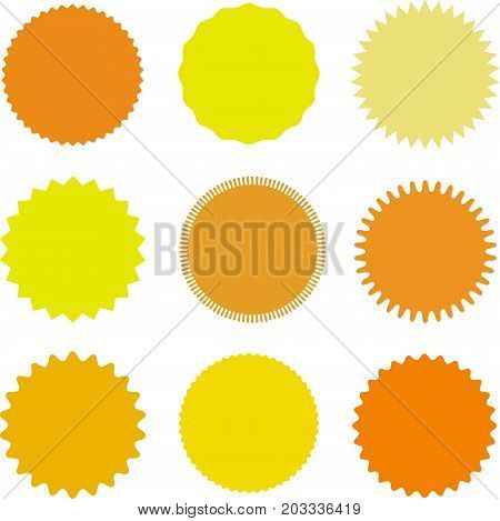 Set of vector starburst, sunburst badges. Different shades of yellow,orange. Simple flat style Vintage  labels. Design elements. Colored stickers. A collection of different types and colors icon.