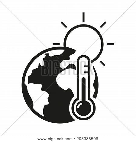 Icon of global warming. Earth, temperature, sun. Ecology concept. Can be used for topics like catastrophe, climate change, global problems