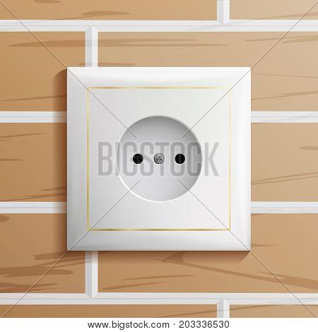 Electric Socket Vector. Plastic Standard Panel. Brick Wall. Realistic Illustration