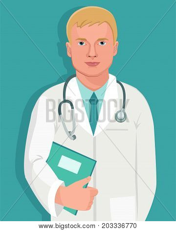 Traditional Jobs. Young Doctor With Stethoscope Isolated Vector. Man Profession Characters. Doctor Holding Folder With Medical Information.