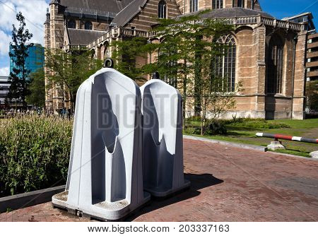 Male portable temporary urinal toilets near Cathedral of Saint-Lorentzkerk. Rotterdam Netherlands