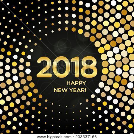 Happy New Year 2018 Abstract Golden Round Shimmer Background