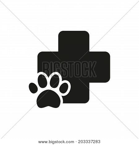 Icon of pharmacy for pets. Medical cross, first aid, paw footprint. Veterinary clinic concept. Can be used for topics like animal hospital, treatment, animal care