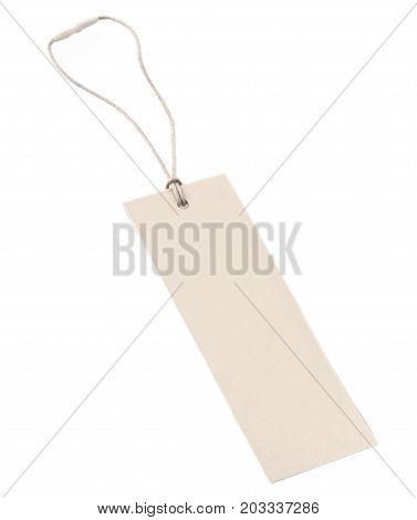 Blank tag tied with string. Price tag gift tag sale tag address label.